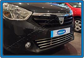 Решетка в бампер (нерж) - Renault Lodgy 2013+ гг.