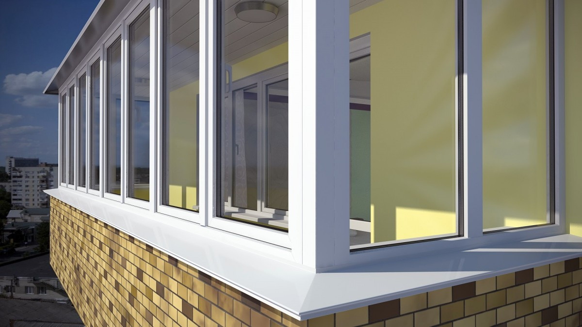 Металлопластиковый Г-образный балкон