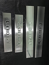 Накладки на пороги Carmos (4 шт, нерж.) - Renault Lodgy 2013+ гг.