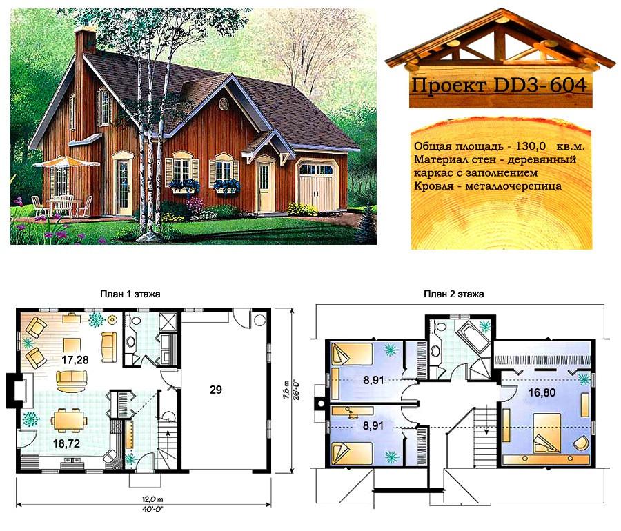 Проект каркасного дома с заполнением 130 м2. Проект дома бесплатно при заказе строительства
