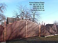 Ворота с калиткою закрытые профнастилом 6590 , фото 1