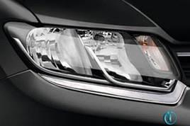 Накладки на фары (2 шт, нерж) - Renault Logan III 2013+ гг.