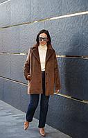 Женское зимнее пальто утепленное, женское пальто из шерсти с длинным ворсом. Жіноче зимове пальто., фото 1