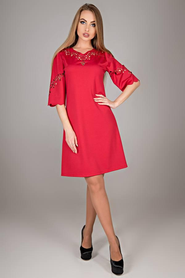 Молодежное платье Диколь красный(44-52)