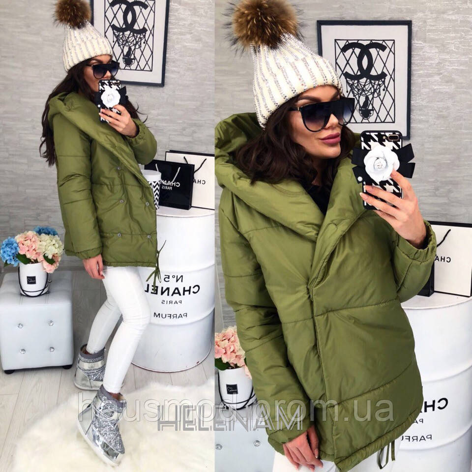 a16ca74d3b7c Женская куртка зефирка с глубоким капюшоном олива 42 44 46 -