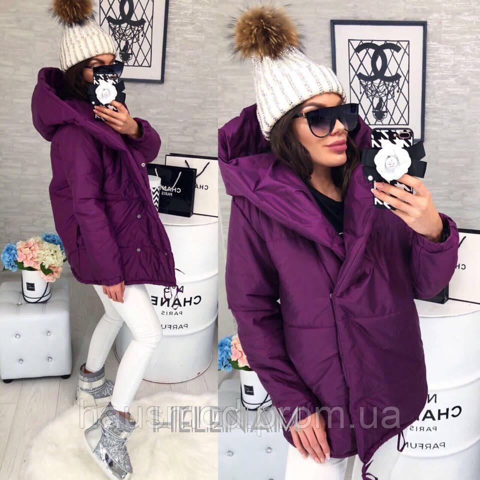 796c200ef49a Женская куртка зефирка с глубоким капюшоном фиолет 42-44, 44-46 ...