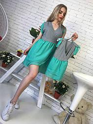 Наборы дочки-мамы платье с шифоновой юбкой v194