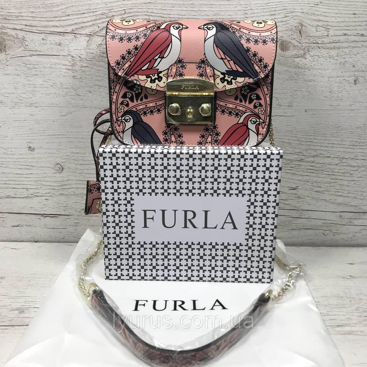 Кожаная сумка клатч Furla metropolis разноцветье