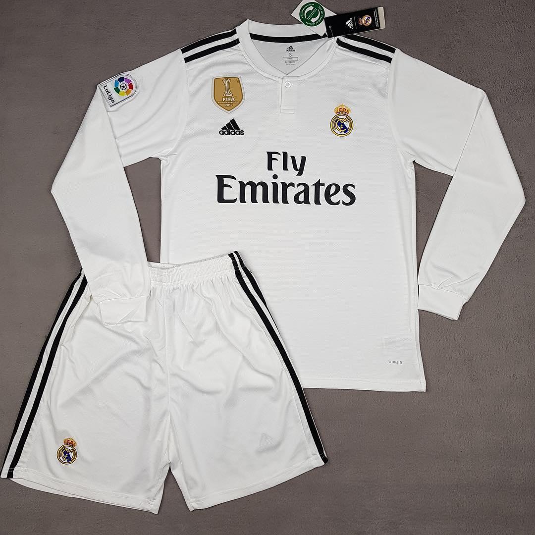 Футбольная форма Реал Мадрид основная с длинным рукавом белая (сезон 2018-2019)