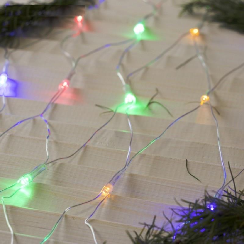 """Гирлянда """"Сетка"""" 160 LED 1.5м x 1.5м разноцветнаяя на прозрачном проводе 5mm"""