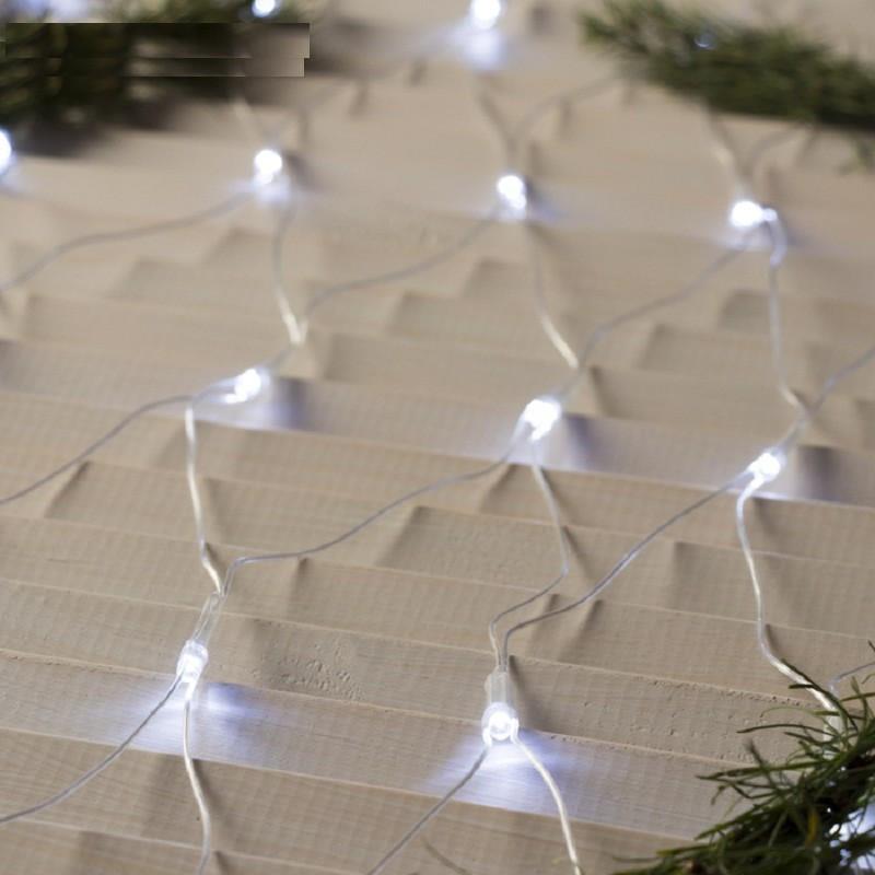 """Гирлянда """"Сетка"""" 200 LED 2м x 2м белая на прозрачном проводе 5mm"""