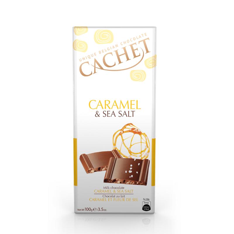 CACHET Молочный шоколад с карамелью и морской солью, 100g Бельгия