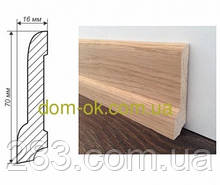 Плинтус деревянный из дуба или ясеня 70х16 мм, ТИП 3