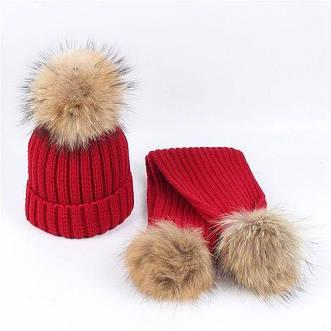 Детские наборы шапка и шарф с меховыми помпонами