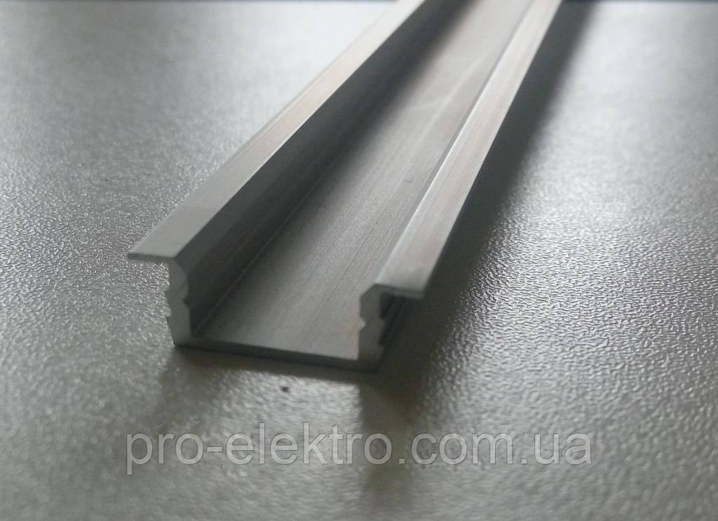 """Серия """"Econom"""" Профиль алюминиевый LED врезной ПВ7 6,8х16мм, анодированный, цвет - серебро."""