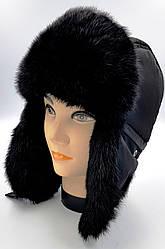 Зимняя мужская шапка-ушанка-Чёрная