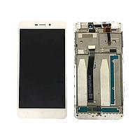 Дисплей (экран) для Xiaomi Redmi 3x с сенсором (тачскрином) и рамкой белый