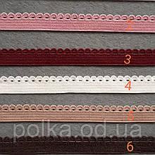 Резинка для белья с ажурным краем, ширина 8мм, цвет розовый/бордо/марсал/синий/разные (Турция)
