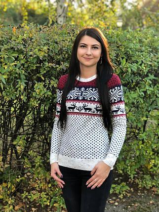Стильный женский свитер мягка качественная вязки с добавлением  полушерсти 44, 46, 48 размер норма и батал, фото 2