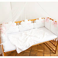 """Защита в детскую кроватку """"Розовые бантики"""" , сатин, М-01"""
