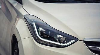 Передние фары Hyundai Elantra MD тюнинг Led оптика (линза под ксенон)