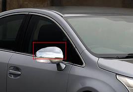 Накладки на зеркала (2 шт, нерж) - Toyota Avensis 2009+ гг.