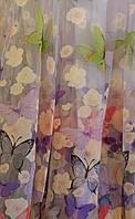 """Тюль для дитячої """"Метелики"""" (бузковий) оптом і метражем, фото 1"""