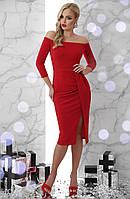 Женское нарядное платье, размер 48 и 50, красное, облегающее, вечернее, коктейльное, миди