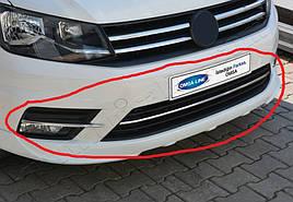 Накладки на бампер (3 шт, нерж) - Volkswagen Caddy 2015+ гг.