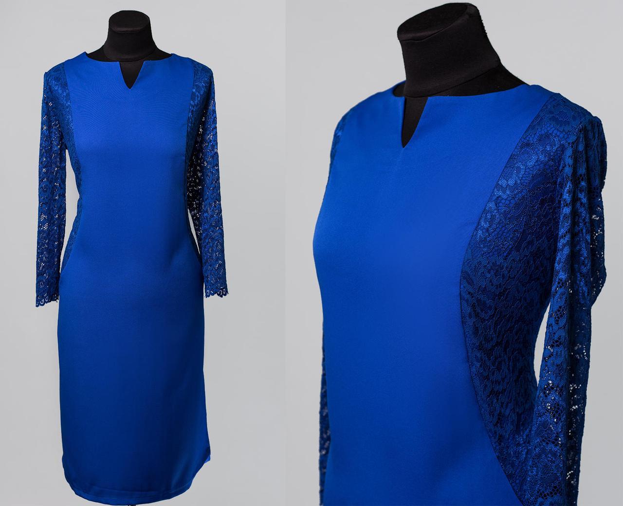 """Элегантное женское платье ткань """"Костюмная+кружево"""" 54 размер батал"""