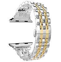 Металлический ремешок Primo Steel Link для часов Apple Watch 42mm / 44mm - Silver/Gold