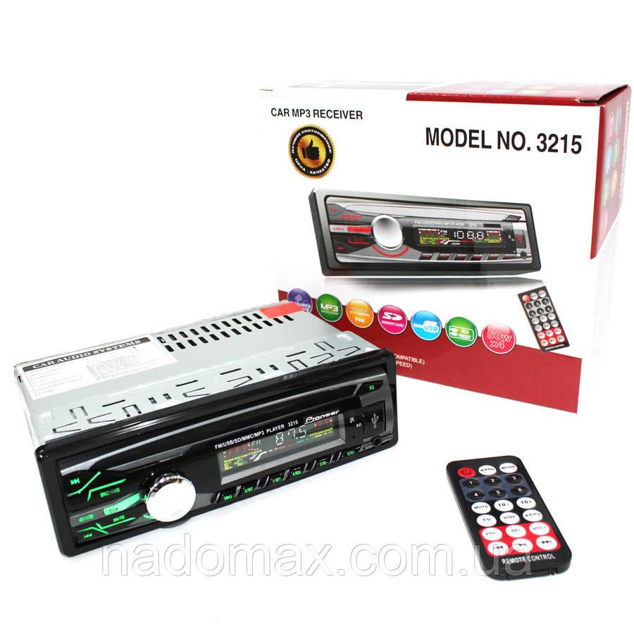 Автомагнитола Pioneer 3215 с USB, FM, AUX, 4*50W Сменная подсветка