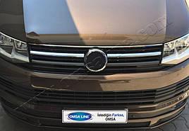 Накладки на решетку (2 шт, нерж) - Volkswagen T6 2015+ гг.
