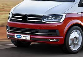 Накладки на решетку бампера (3 шт, нерж) - Volkswagen T6 2015+ гг.