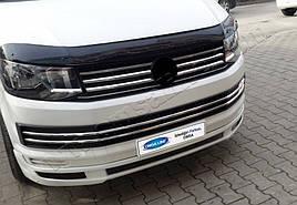 Накладки на решетку бампера (6 шт, нерж) - Volkswagen T6 2015+ гг.