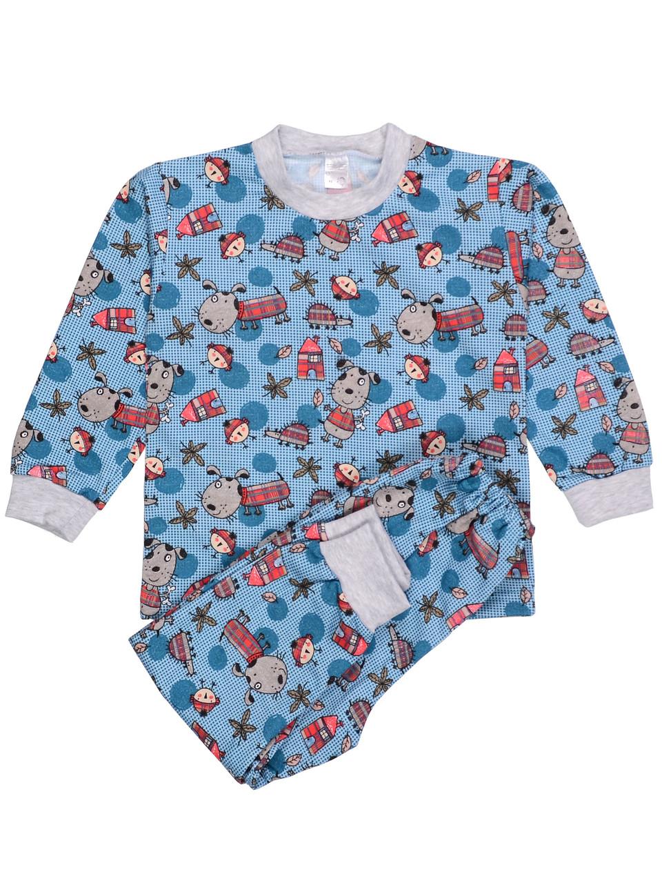 Теплая пижама детская (футер), принт дом 92/110
