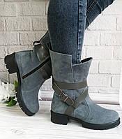 Сірі замшеві черевики на товстому каблуці, фото 1
