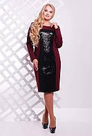 Платье с  пайетками ASTI бордо, фото 1