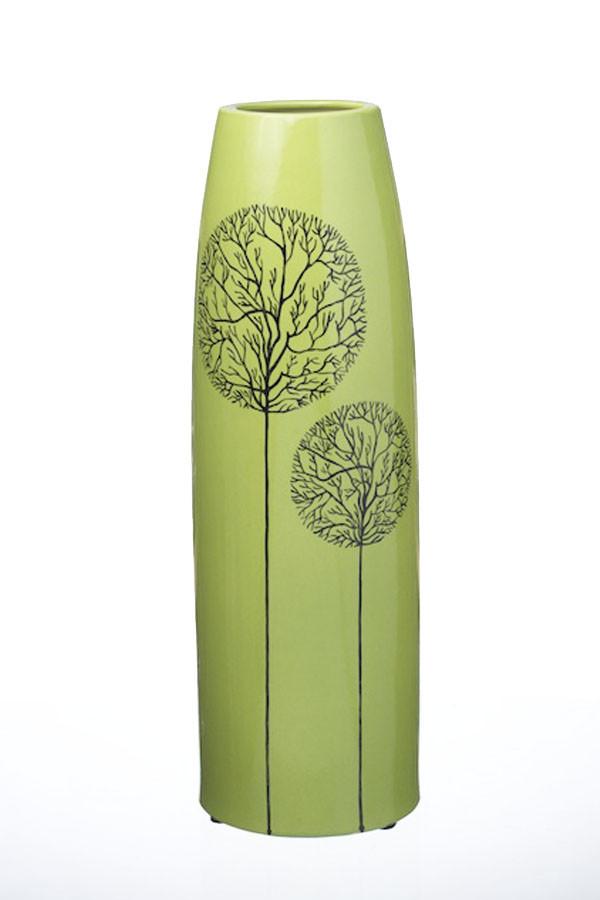 Ваза керамическая ETERNA 210218 (глянец зеленый, 13*13*38 см)