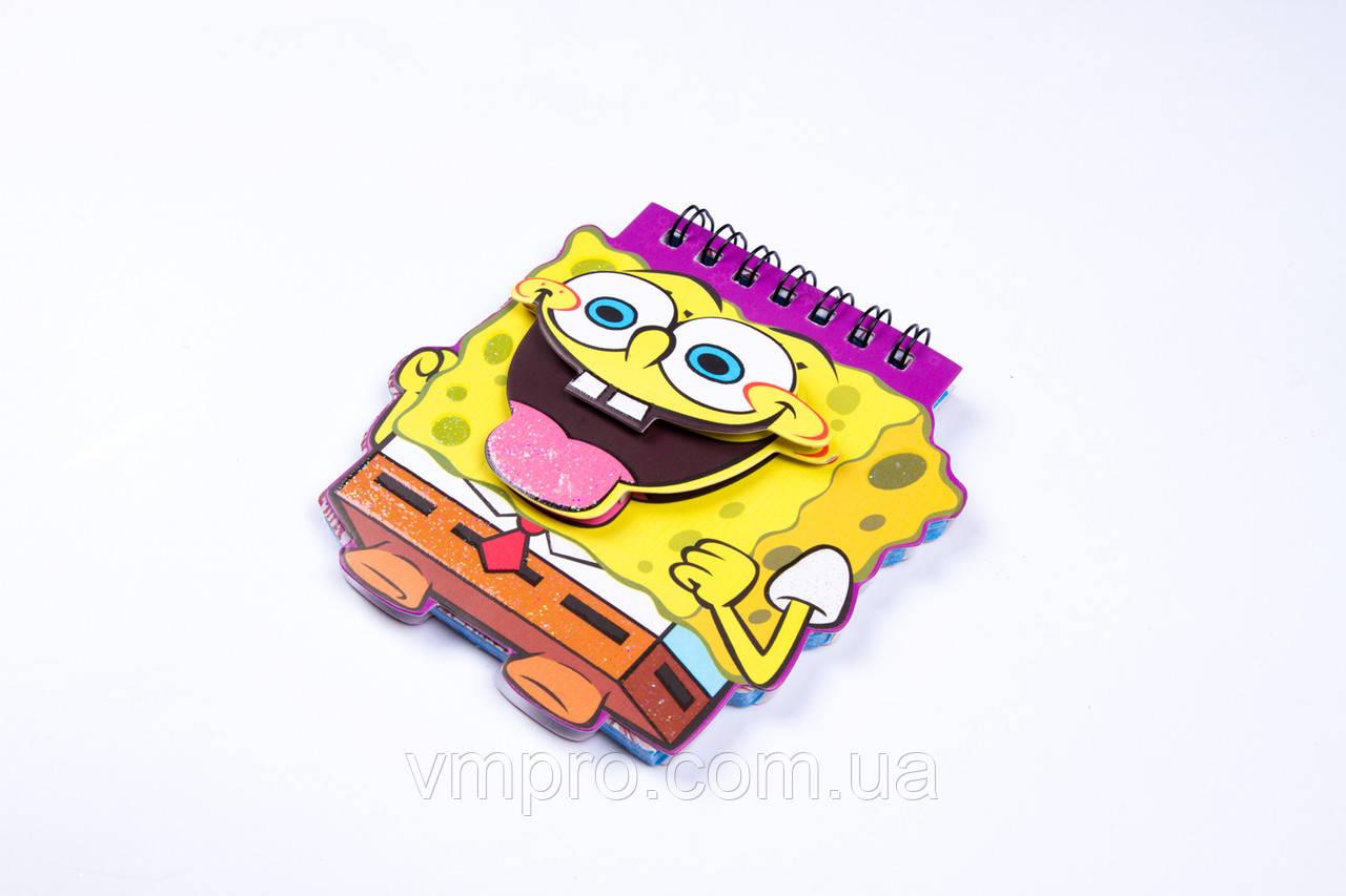 """Блокнот на спирале фигурный,""""SpongeBob"""" A-6, с аппликацией, №X-137, детские блокноты"""