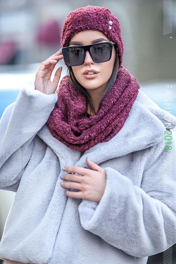 Вязаный набор шапка и шарф хомут 227 в расцветках
