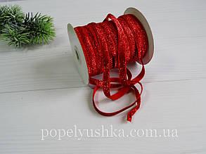 Стрічка оксамитова блискуча 1 см  червона