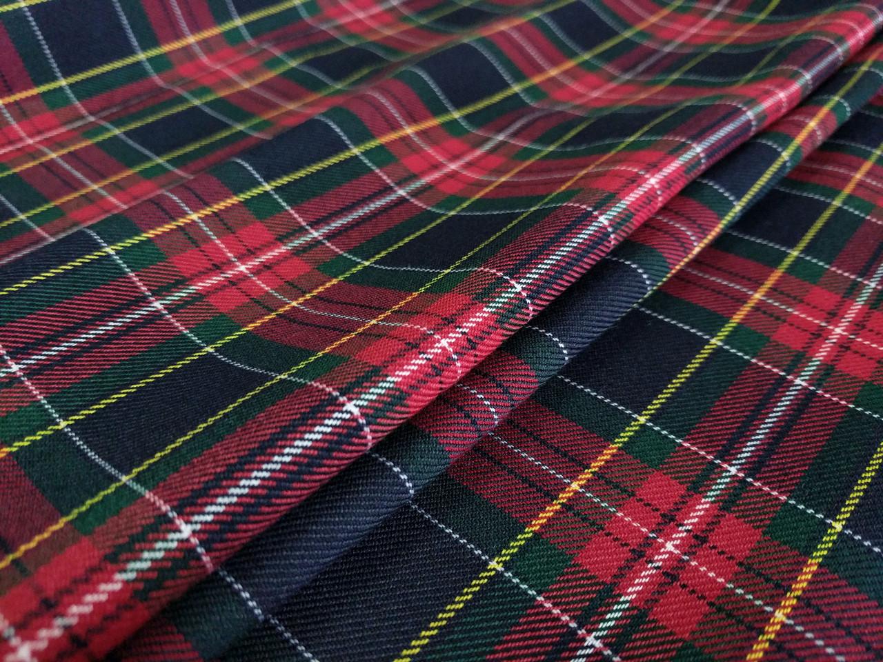 Клетка костюмная шотландка, зеленый
