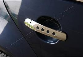 Накладки на ручки с дырками (4 шт., нерж.) - Audi A2 1999-2005 гг.