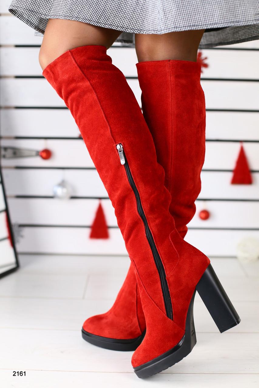 ad36ffa749cc Демисезонные натуральные замшевые сапоги ботфорты на каблуке красные