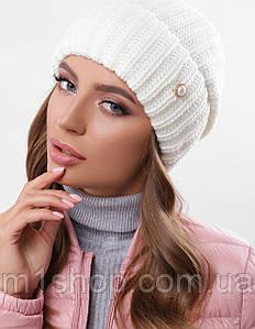 Женская вязаная шапка на флисе (314 mrs)