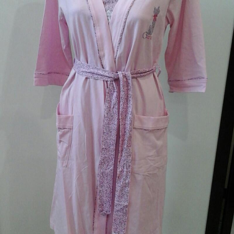 Халат женский и ночная рубашка нежно розовый цвет   продажа 95a4511a07087