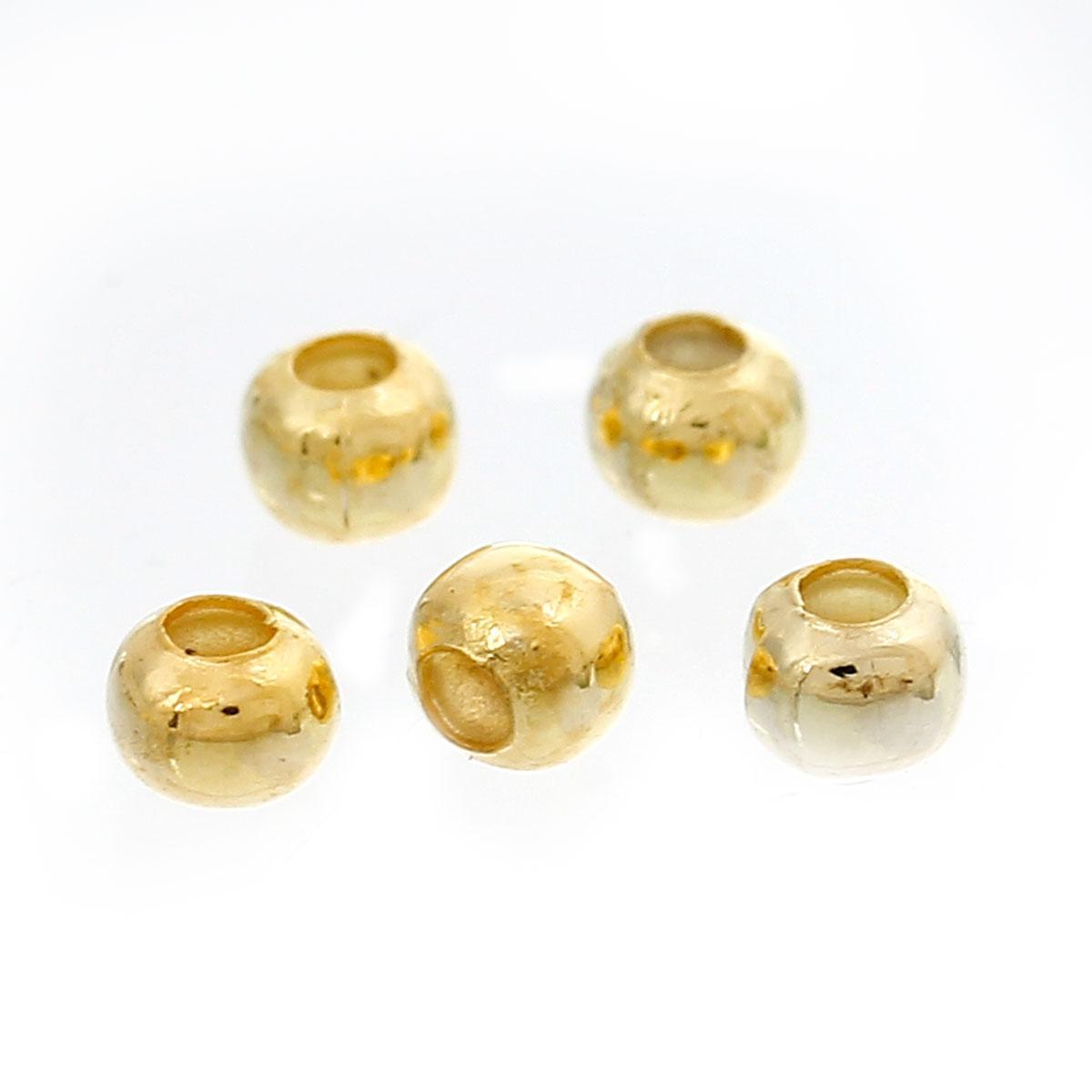 Бусина, Металлическая, Цвет: Золото, 3 мм, отверстие: 1 мм