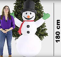 Снеговик надувной высота 1.8 м с разноцветной подсветкой