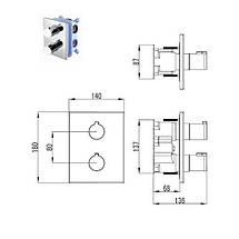 Imprese CENTRUM cмеситель для ванны, термостат, скрытый монтаж, фото 3